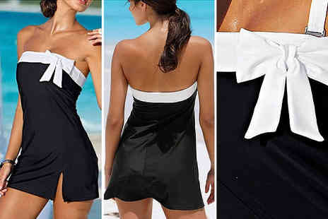 Blu Fish - Strapless bow swim dress with contrasting trim choose from three sizes - Save 77%