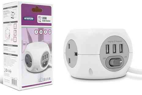 Groupon Goods Global GmbH - Status Three Way 1.4m Cable Cube Extension Sockets with Three Usb Ports - Save 0%