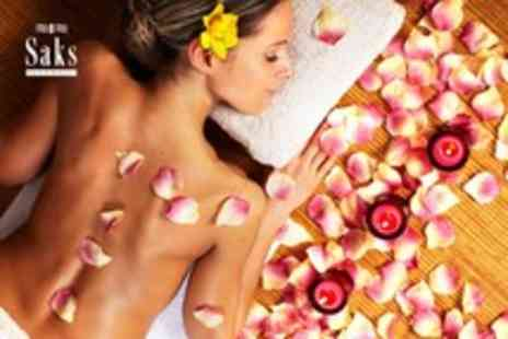 Saks Hair & Beauty - A pamper package including body wrap, Jessica mani & padi and a choice of eye treatment - Save 47%