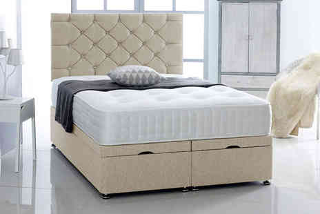 Serenity Designs - Chenille ottoman bed with headboard and mattress choose from five sizes and three colours - Save 0%