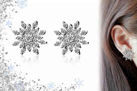 GetGorgeous - Pair of crystal snowflake earrings With Delivery Included - Save 65%
