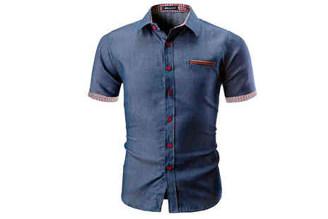 Blu Apparel - Mens Slim Fit Denim Shirt Available in 2 Colours and 5 Sizes - Save 50%