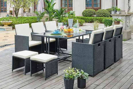 UK Furniture Zone - 11 piece high back garden polyrattan furniture set or 11 piece set with cover choose between four colours - Save 68%