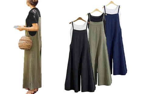 Boni Caro - Wide leg womens jumpsuit with adjustable straps choose from three colours and four sizes - Save 60%