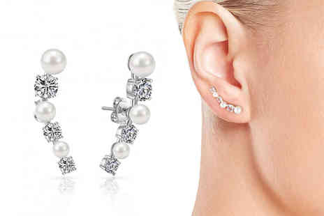Philip Jones - Pair of pearl climber earrings choose from three colours - Save 63%