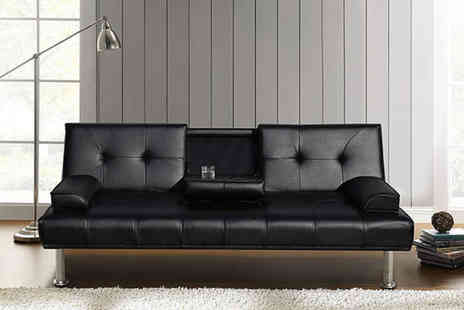 Meriden Furniture - Three seater black sofa bed with cup holders - Save 54%