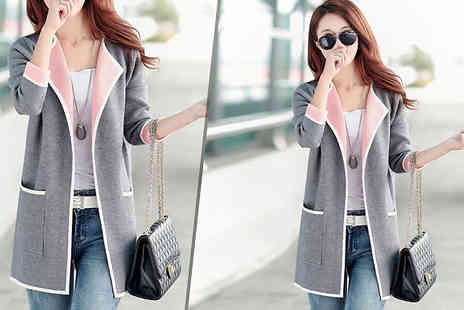 Aha Trading - Two Tone Blazer Jacket in Pink or Grey Choose from Four Sizes - Save 53%