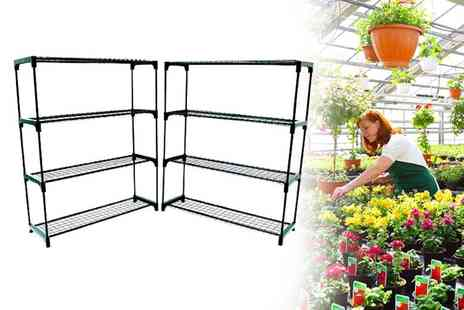 Who Needs Shops - Double pack of Four tier greenhouse shelving units - Save 70%
