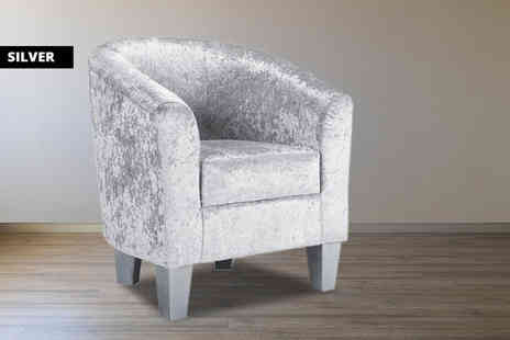 UK Furniture Zone - Velvet tub chair - Save 55%