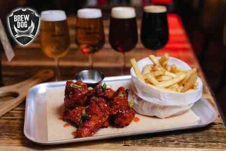 BrewDog - Self guided craft beer tasting experience for one person with chicken wings and fries - Save 58%