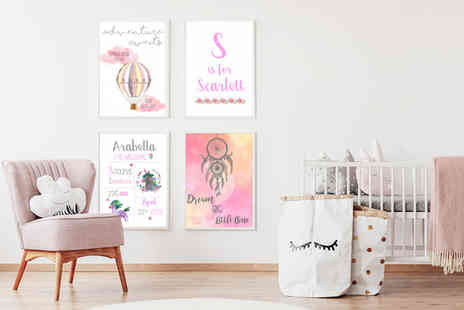 Your Perfect Canvas - 12 x 8 Inch personalised framed nursery print - Save 80%