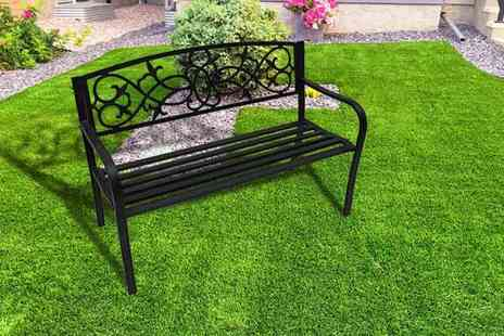Who Needs Shops - Two seater black metal garden bench - Save 79%