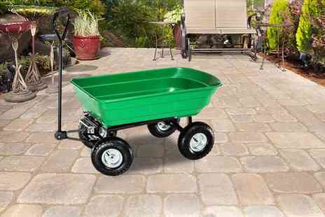 Who Needs Shops - Heavy duty green garden cart with tipping barrow trolley - Save 71%