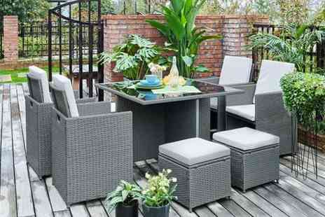 UK Furniture Zone - Eight seater durable polyrattan garden furniture set with an optional cover choose from four colours - Save 76%
