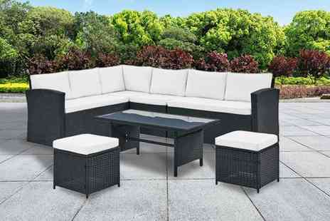 UK Furniture Zone - Eight seater rattan corner group sofa set - Save 61%
