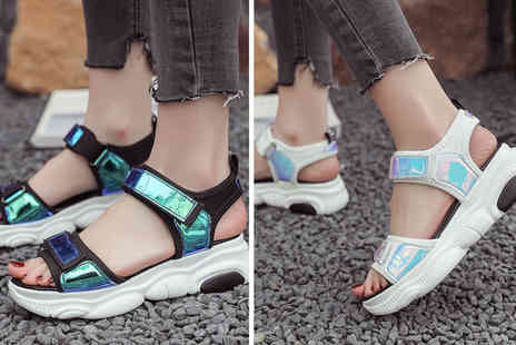 Litnfleek - Pair of holographic trainer sandals choose from two colours - Save 70%