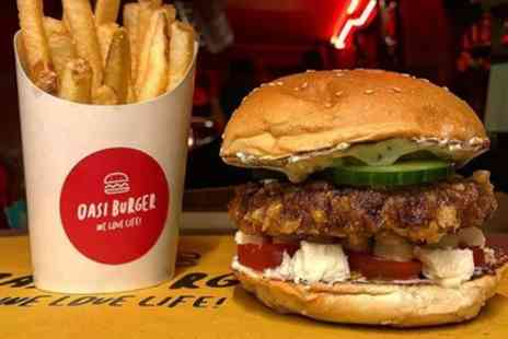 Oasi Burger - Choice of Vegan Burger or Hot Dog with Side for Up to Four - Save 44%