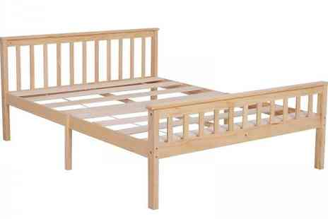 Mhstar - Solid Wood Bed Frame Choose from 2 Sizes and 2 Colours - Save 54%