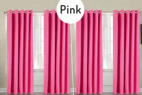 Groundlevel - Thermal Blackout Eyelet Curtains Available in 5 Sizes and Colours - Save 75%