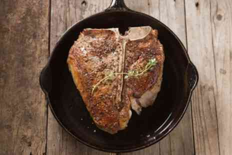 Meat Point Steakhouse - 16oz T Bone Steak with Fries, Salad and Sauce for Two - Save 28%