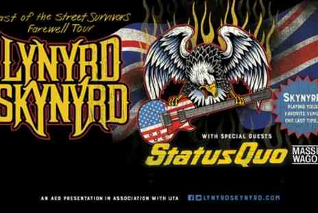 Lynyrd Skynyrd - One best available seated ticket to see Lynyrd Skynyrd & special guests Status Quo on 26 Jun, Glasgow or 27 Jun, Manchester Arena - Save 50%
