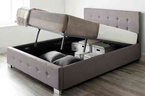 Groupon Goods Global GmbH - Fabric Ottoman Storage Bed with Optional Bonnell or Pocket Mattress - Save 62%