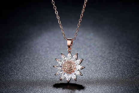 Your Ideal Gift - Sunflower crystal necklace choose from two colours - Save 90%