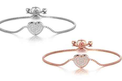 Groupon Goods Global GmbH - One or Two Philip Jones Pave Heart Friendship Bracelets with Crystals from Swarovski - Save 0%