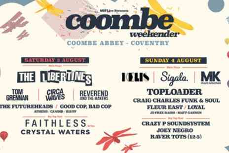 Coombe Weekender 2019 - One day or weekend ticket The Libertines, Tom Grennan and Circa Waves from 3rd To 4th August - Save 31%