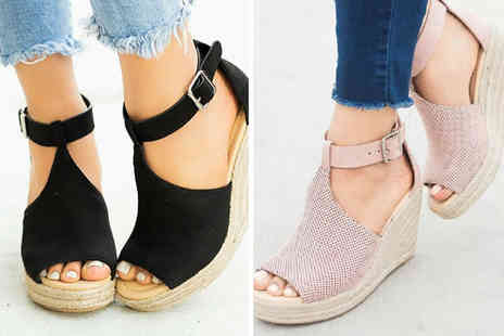 Backtogoo - Pair of peep toe espadrille wedges choose from four colours - Save 0%