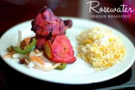 Rosewater Indian Brasserie - Three Course Indian Meal With Side and Dessert Plus Champagne For Two - Save 68%