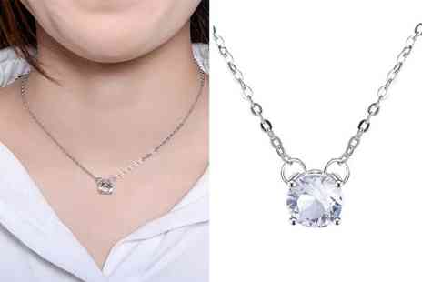 Taylors Jewellery - Attract round crystal pendant necklace made with crystal from Swarovski - Save 83%
