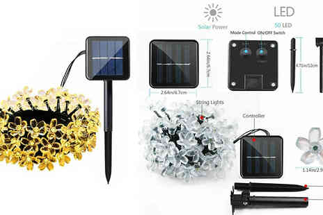 Wow What Who - 50 Led Flower Solar String Lights Choose from Eight Colours - Save 73%
