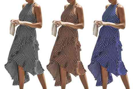 Boni Caro - Polka dot asymmetric high neck dress - Save 60%
