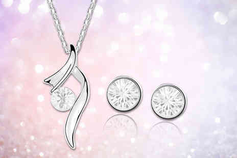 Evoked Design - Crystal swirl earring and necklace set - Save 91%