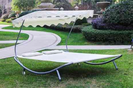 Smart Living - Double sun bed lounger with canopy choose between five colours - Save 80%