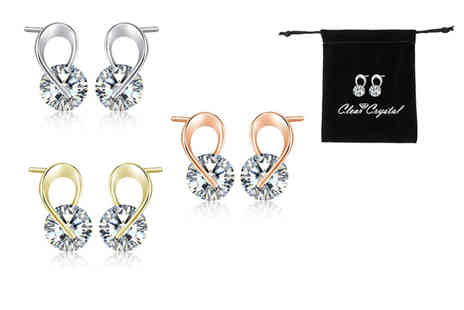 Your Ideal Gift - Pair of ribbon tie earrings made with crystals from Swarovski - Save 86%
