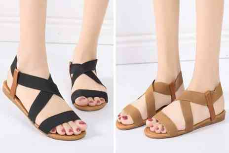 Backtogoo - Pair of flat sandals with criss cross elastic straps choose from five colours - Save 70%