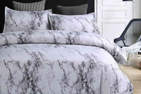 Backtogoo - Marble effect bedding set choose from four sizes - Save 80%
