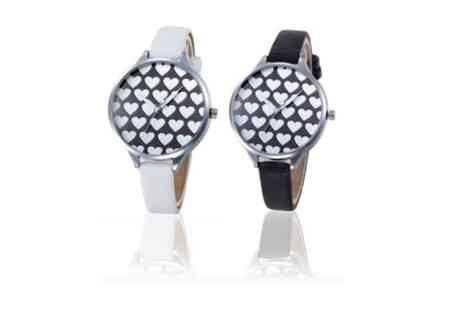 Solo Act - Heart patterned watch 2 colours - Save 76%
