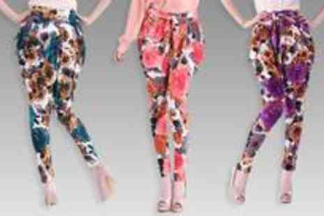 Vivacity Stores - Three pairs of butterfly flower haroun trousers available in red purple and blue - Save 78%