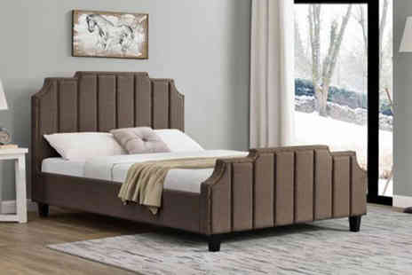 UK Furniture Store - Linen covered double bed with bonnell mattress - Save 0%