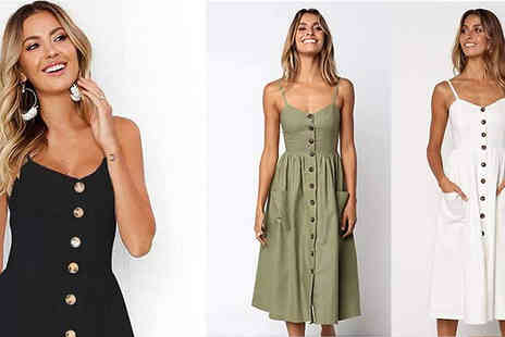 Wish Whoosh Offers - Button Front Summer Dress Choose from Five Colours And Four Sizes - Save 75%