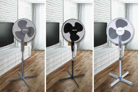 Groundlevel - White 16 inch stand up rotating fan, Black or grey 16 Inch stand up rotating fan - Save 63%