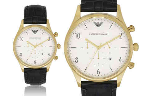 Cheap Designer Watches - Emporio Armani mens black leather strap chronograph watch - Save 56%