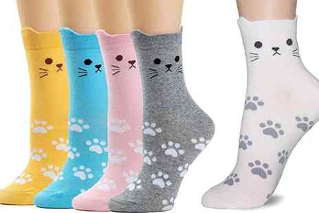 Groupon Goods Global GmbH - One or Two Flo Womens Cat Socks Five Packs - Save 0%