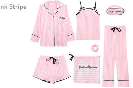 Bag A Bargain - Seven Piece Matching Pyjama Set Choose from Four Designs And Three Sizes - Save 68%