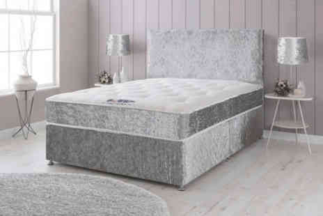 Dining Tables - Crushed velvet divan bed with memory spring mattress And plain headboard choose from six sizes with optional drawers - Save 88%