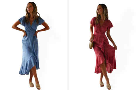 Backtogoo - Cap sleeve wrap dress choose from two colours - Save 0%