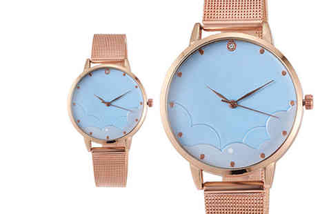 CNC Group - Engraved gold ladies mesh watch with a blue dial - Save 0%